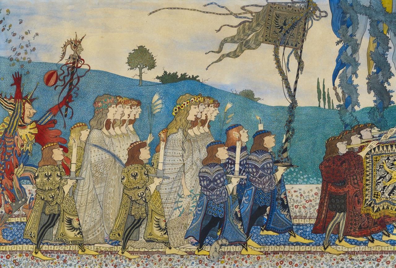 Carl Strathmann. Krönungszug (Triptychon). Um 1902. 3 Blatt Aquarell u. Gouache. Signiert.