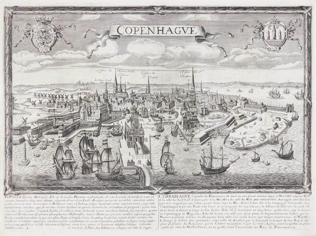 Kopenhagen. Copenhague. Gesamtansicht. Um 1670. Kupferstich bei G. Jollain.