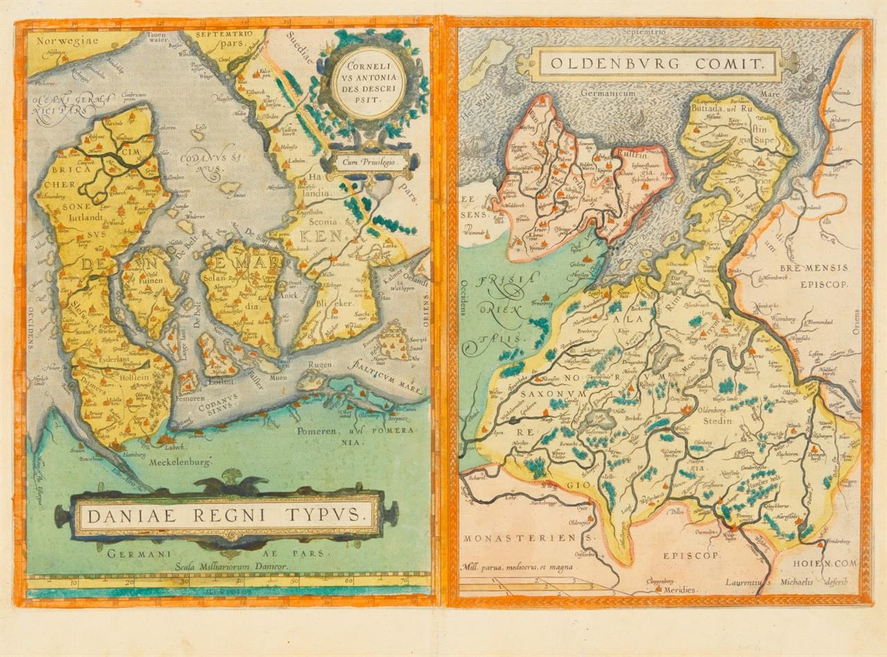 Dänemark/Oldenburg. Daniae Regni Typus/Oldenburg Comit. 2 kolor. Kupferstichkarten auf 1 Blatt aus Ortelius.