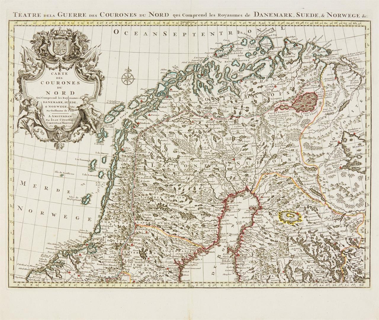 Skandinavien. Cartes des Courons du Nord ... Um 1730. Zweiteilige, grenzkolorierte Kupferstichkarte bei J. Covens & C. Mortier.