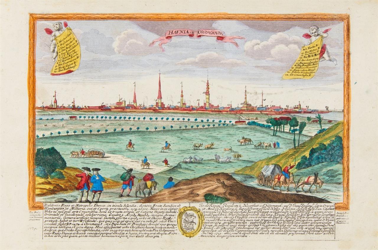 Kopenhagen. - 3 Ansichten (Merian / P. Schenk / J.F. Leopold). Radierungen d. 17./18. Jhs. 3 Blatt.