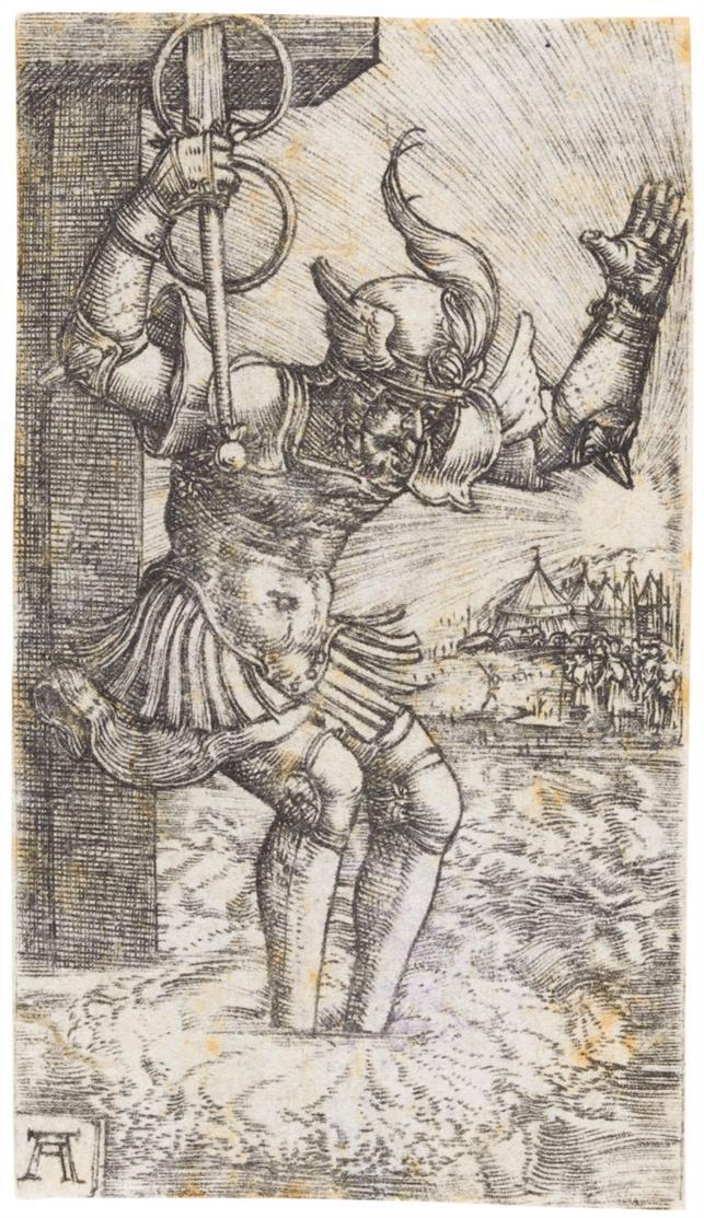 Albrecht Altdorfer. Horatius Cocles spingt in den Tiber. Kupferstich. New Hollstein e.35; Bartsch 29; Winzinger 156.
