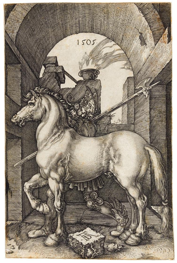 A. Dürer, Kopie nach. Das kleine Pferd. 1505. Kupferstich von J. Wierix. Bartsch illustr. 96 C1.