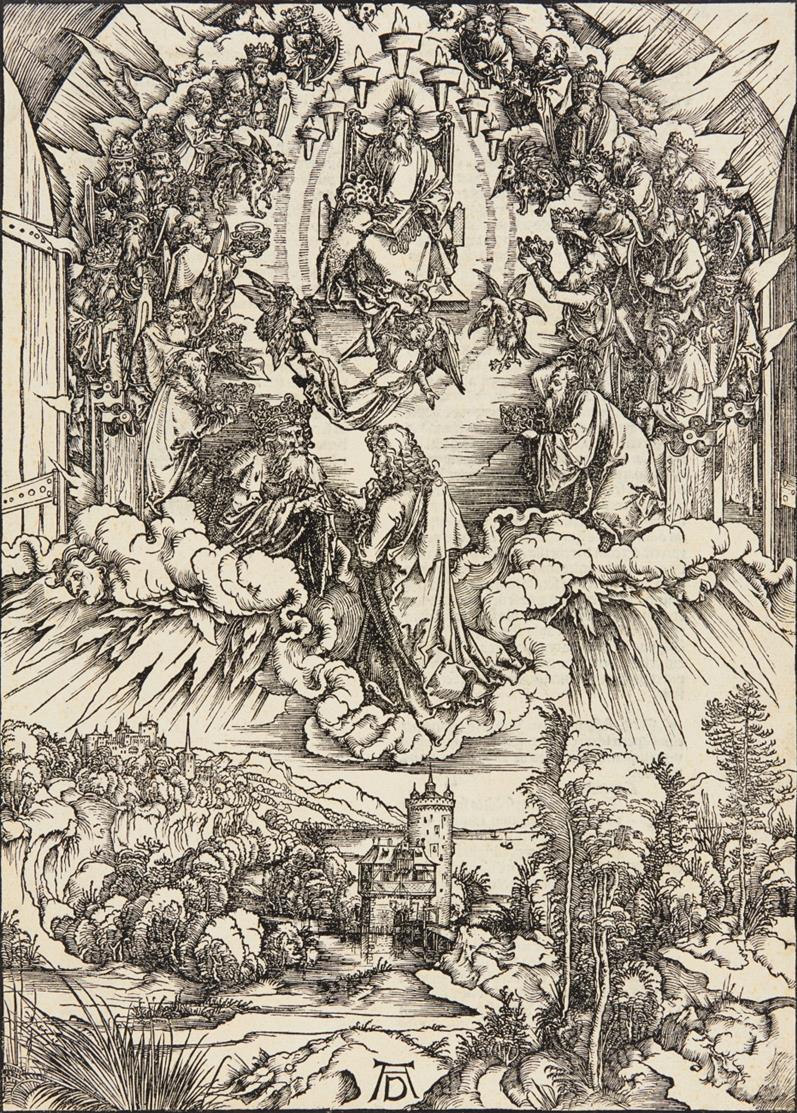 A. Dürer. Johannes vor Gottvater und den Ältesten (aus: Apokalypse). Holzschnitt. Lateinische Textausgabe, 1511. Bartsch 63; Meder 166.