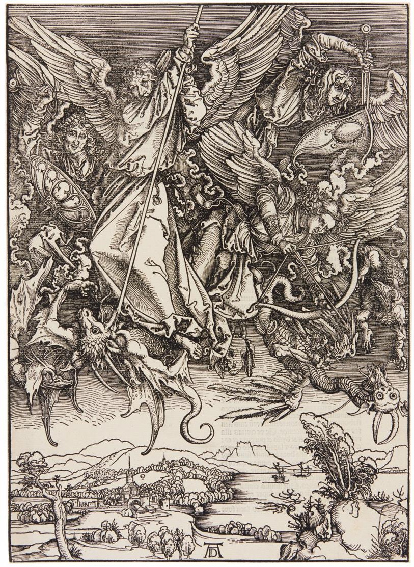 A. Dürer. Michaels Kampf mit dem Drachen (aus: Apokalypse). Holzschnitt. Lateinische Textausgabe, 1511. Bartsch 72; Meder 174.
