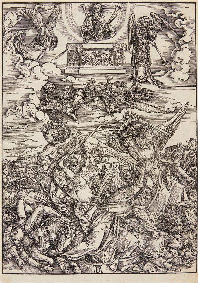 A. Dürer. Der Engelkampf (aus: Apokalypse). Holzschnitt. Lateinische Textausgabe, 1511. Bartsch 69; Meder 171.