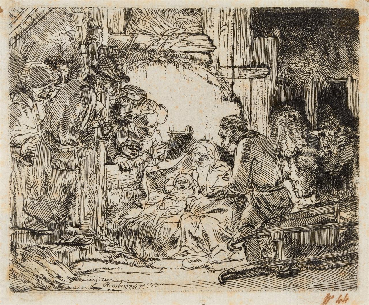 Rembrandt. Die Anbetung der Hirten. Um 1654. Radierung. Bartsch 45; NH 279 III (von III).