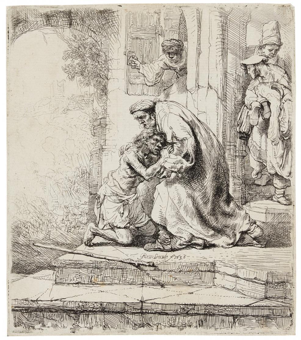 Rembrandt. Der verlorene Sohn. 1636. Radierung. Bartsch 91; New Hollstein 159 I (von III).