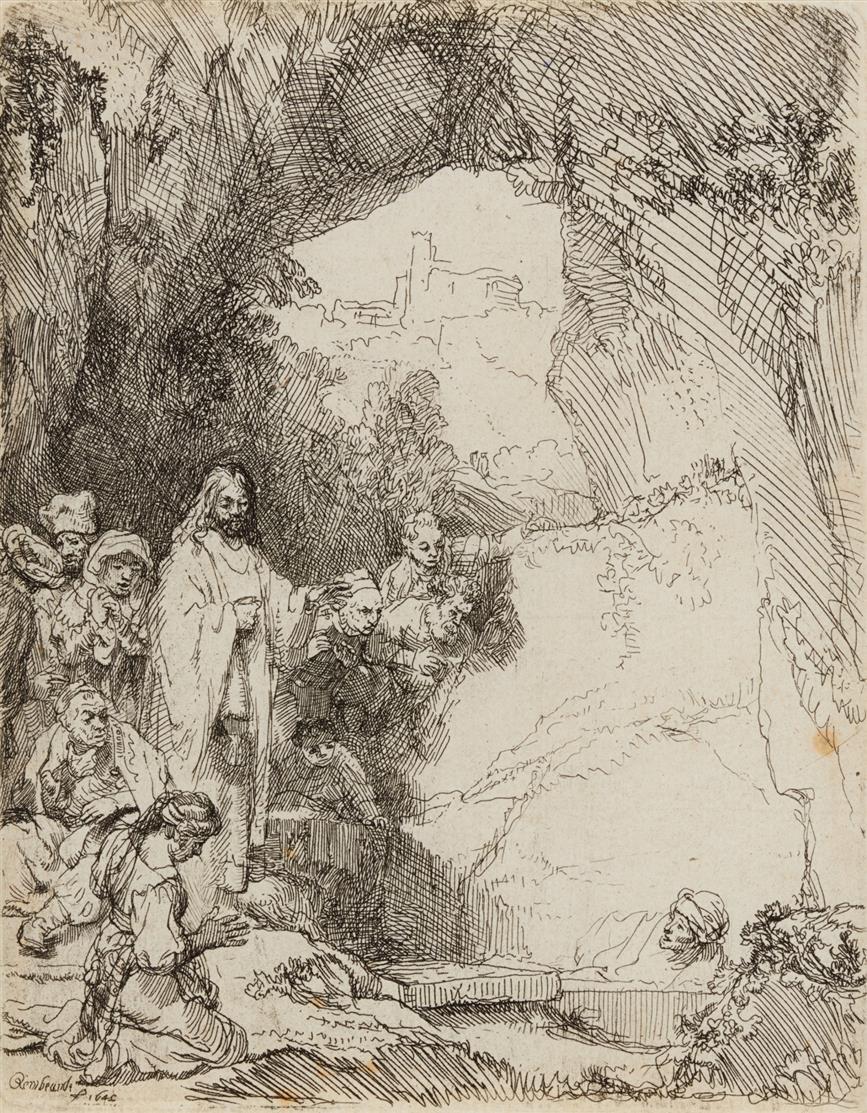 Rembrandt. Auferweckung des Lazarus, kleine Platte. 1642. Radierung. Bartsch 72; NH 206 I (v.II).