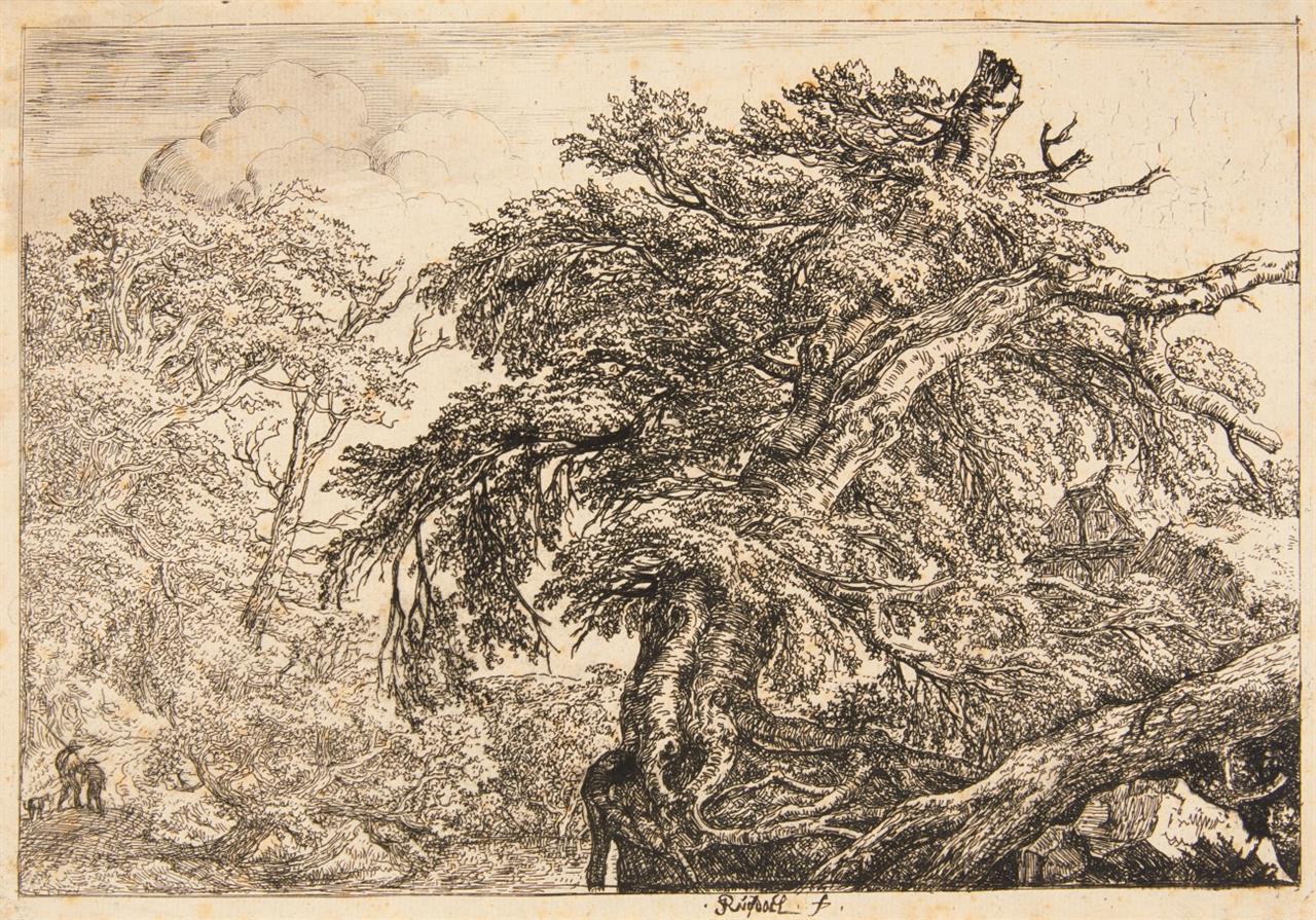 Jacob van Ruisdael. Die beiden Bauern mit dem Hund. Radierung. Hollstein 2 II (von II).