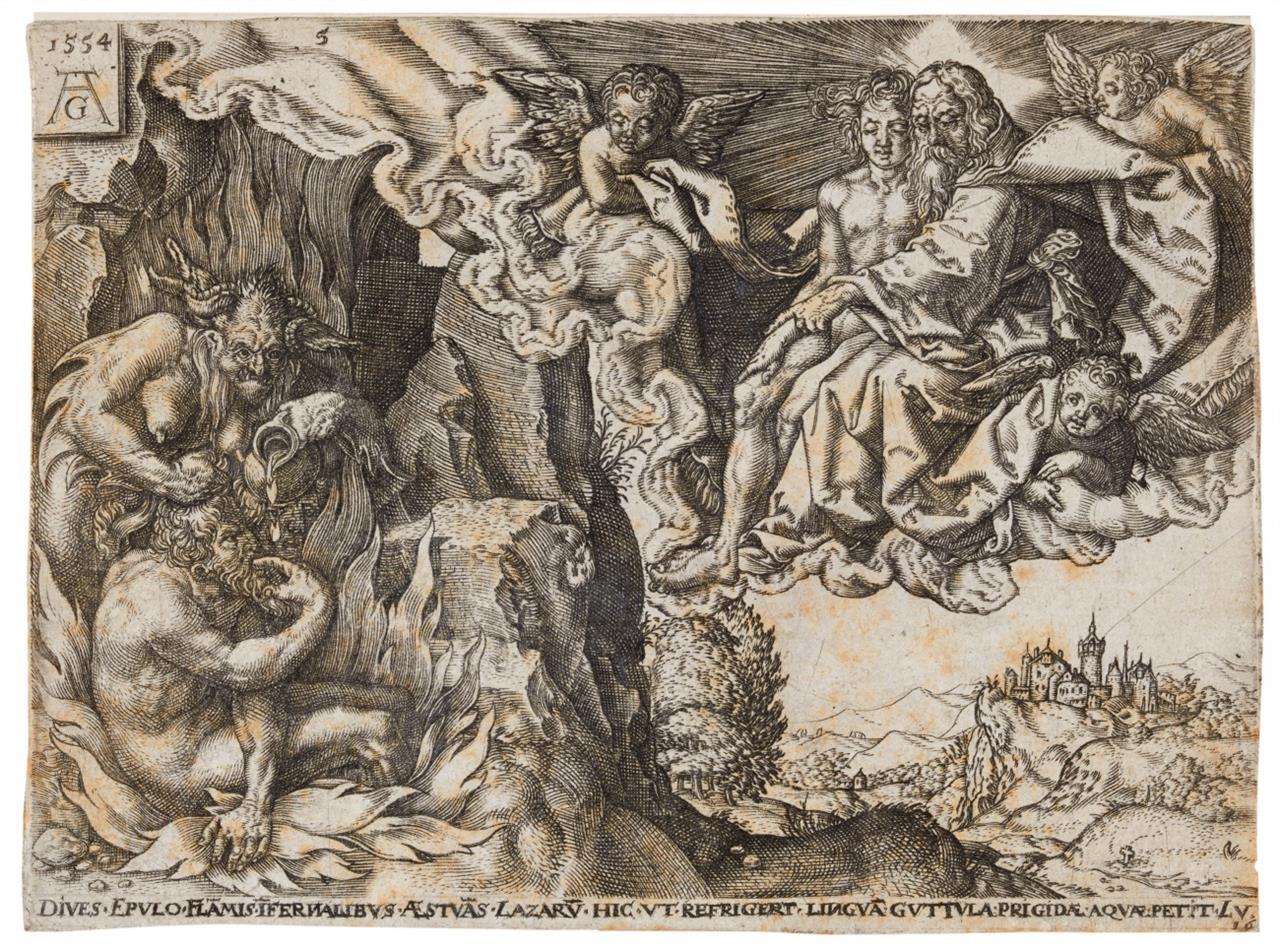 Heinrich Aldegrever (Kopie). Gleichnis von Lazarus und dem reichen Mann. 1554. Komplette Folge von 5 Blatt Kupferstichen. NH 44 – 48 copy.