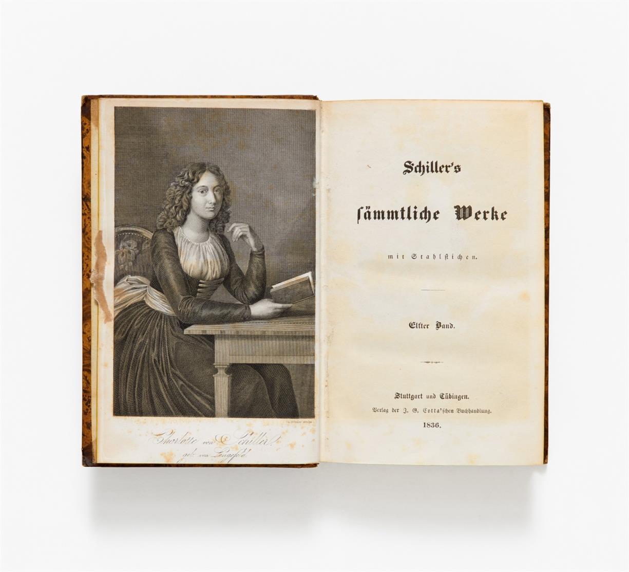 F. Schiller, Sämmtliche Werke. 12 Bde. Stgt. u. Tüb. 1835-1836. + 2 Bde. Suppl. von Hoffmeister. Ebda 1838.