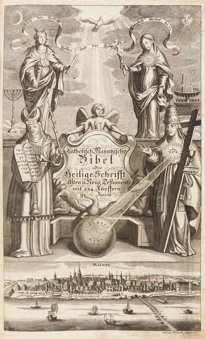 Biblia germanica. - Catholisch Mayntzische Bibel. Ffm 1740.