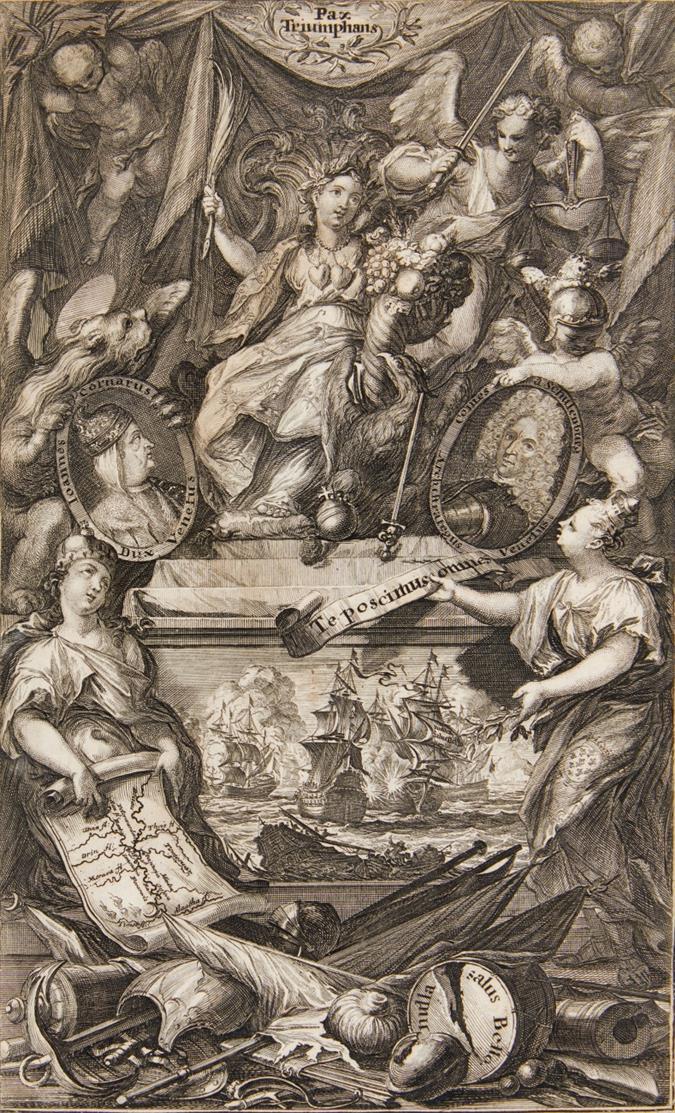 Türkenkriege. Pax Triumphans, allegorische Darstellung des Krieges zw. Venedig und den Türken 1715/16. Um 1720. Kupferstich von I.A. Fridrich.