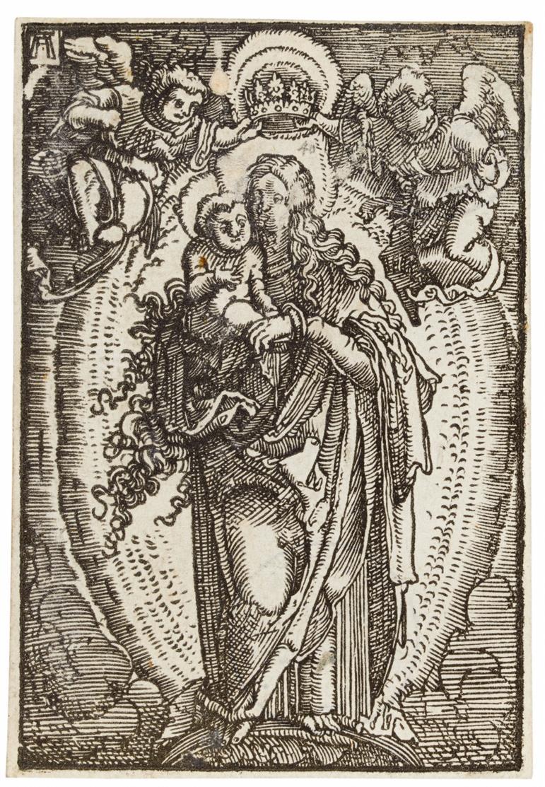 Albrecht Altdorfer. Maria, von Engeln gekrönt. Holzschnitt. NH w.40.