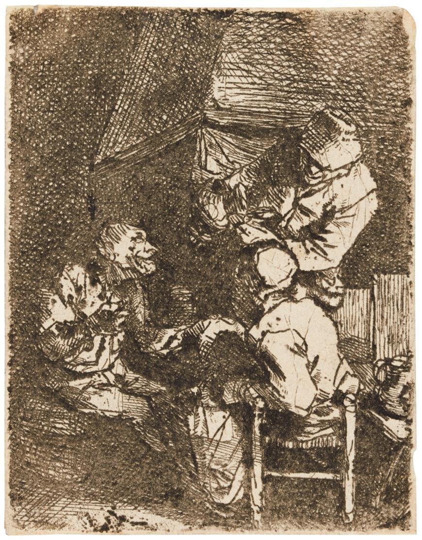 Cornelis Bega. Gesellschaft am Kamin. Radierung. H 23 I (von II).
