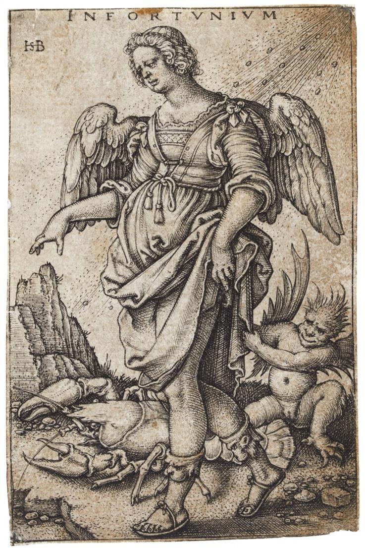 Hans Sebald Beham. Infortunium (Das Unglück). Kupferstich. Bartsch 141.