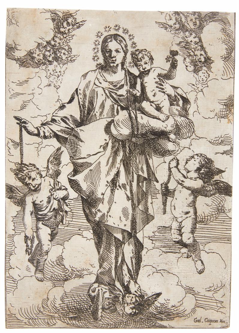 Giulio Carpioni. Die Rosenkranz-Madonna, umgeben von Engeln. Radierung. Bartsch 6.