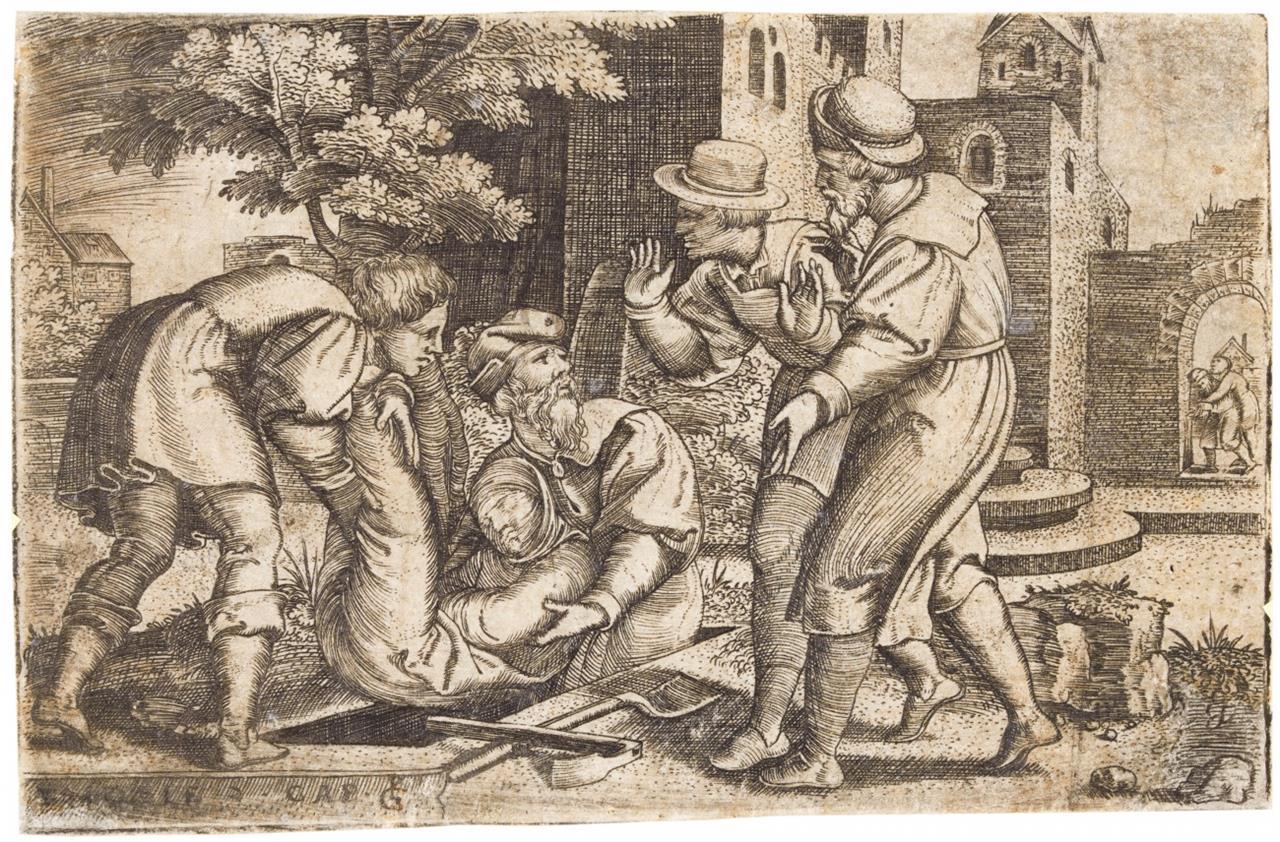 Georg Pencz. Tobit begräbt eines der Kinder Israels. Kupferstich. H 27.