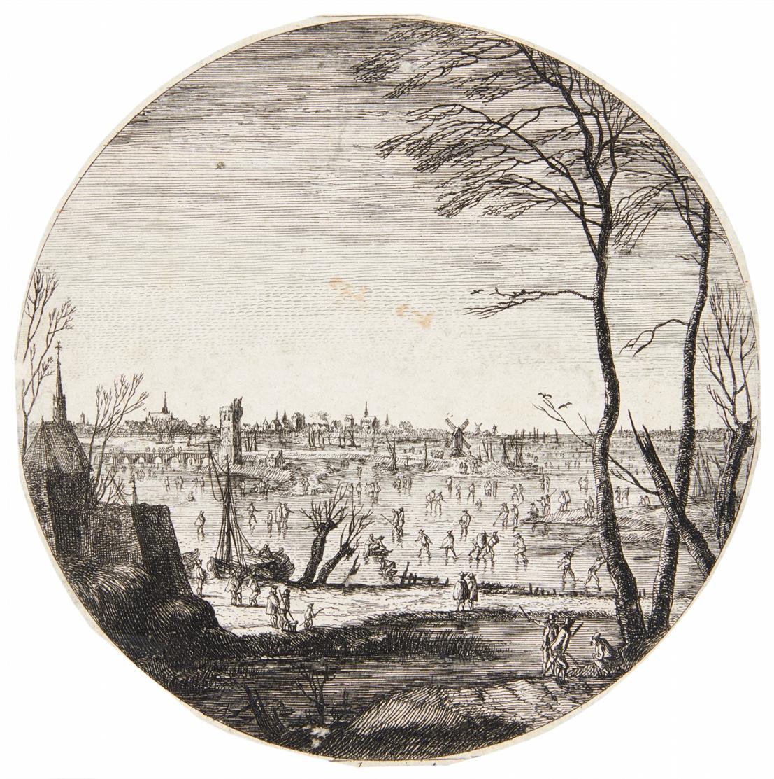 M. van Plattenberg. Landschaft mit Schlittschuhläufern. Radierung. H 6.