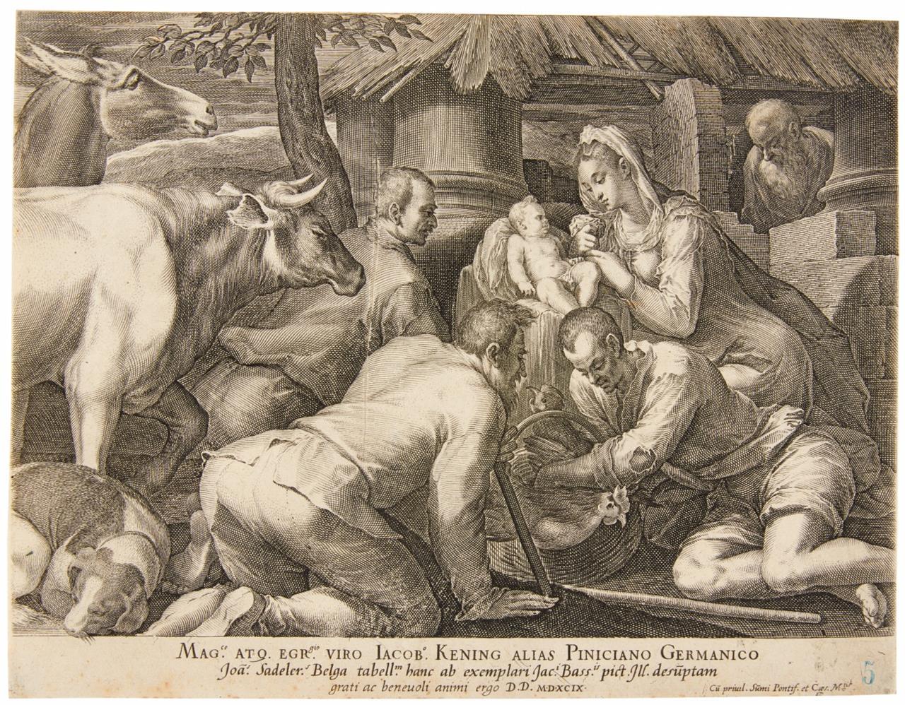 Johannes Sadeler. Die Anbetung der Hirten. 1599. Kupferstich. Hollstein 182 I (von II).