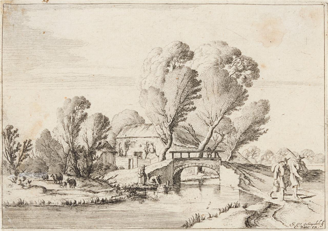 G. van Scheyndel. Die Landschaft mit zwei Wanderern vor einer Brücke und einem Bauernhaus. Radierung. H 109 I (von III).