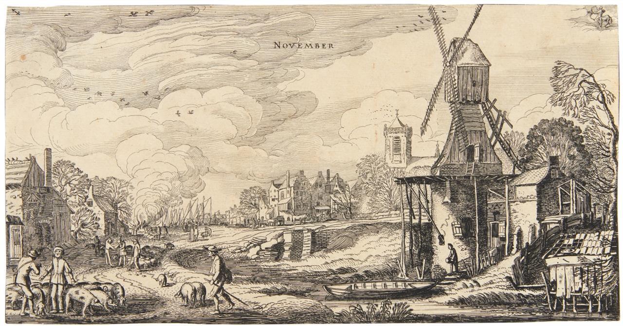 Jan van de Velde II. November. 1616. Radierung. H 56 I (von II).
