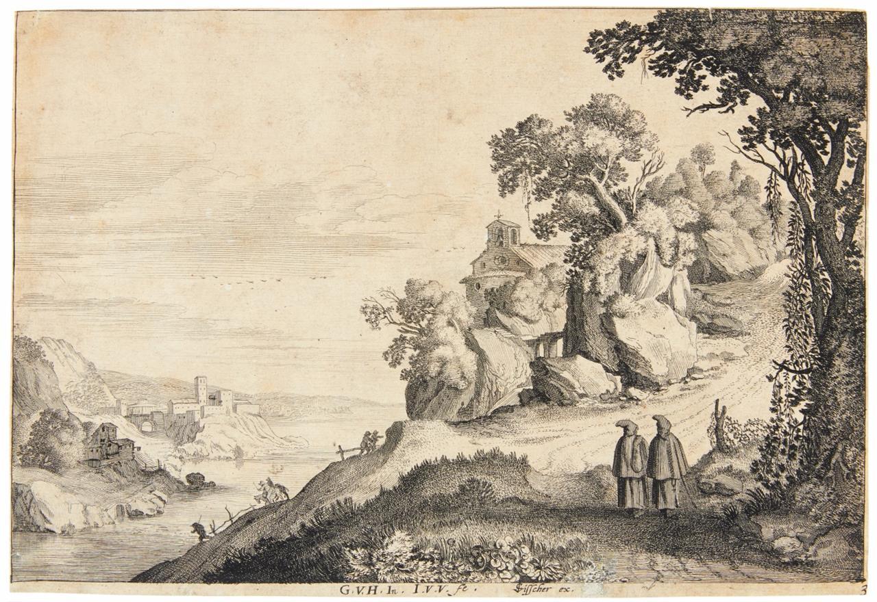 Jan van de Velde II. Flusslandschaft mit zwei Mönchen bei einer Kapelle. Radierung. H 330.