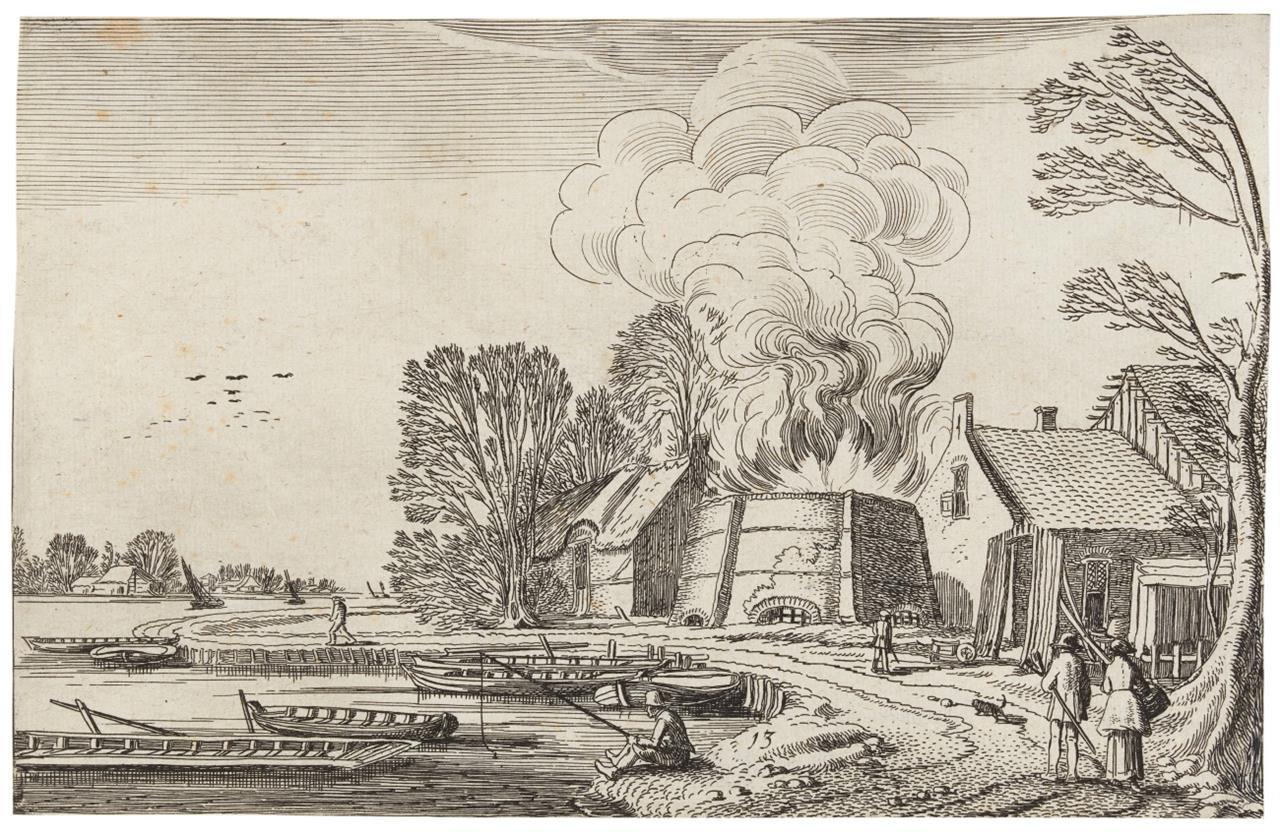 Jan van de Velde II. Rauch aus einem Kohlenmeiler. 1616. Radierung. H 228.