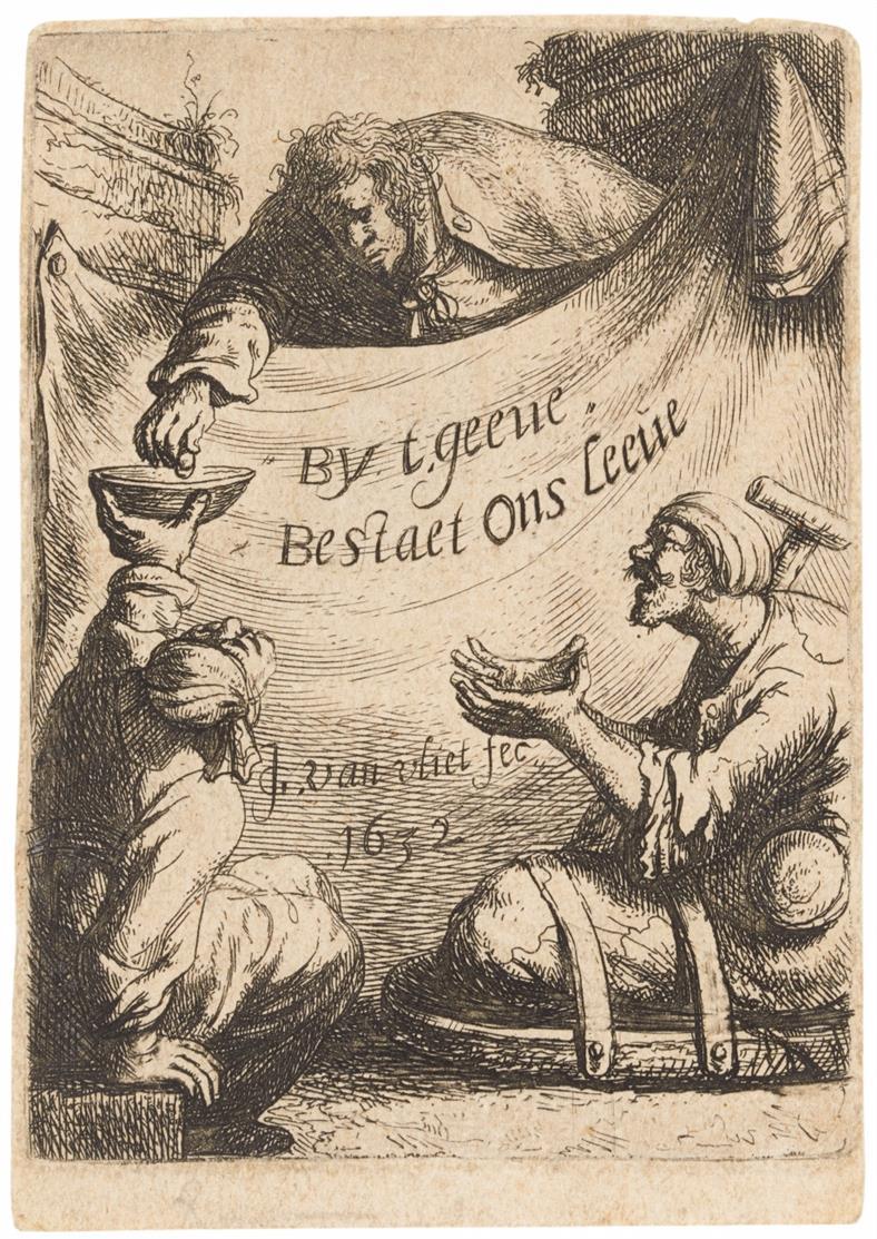 J. van Vliet. Vornehmer Herr gibt einem Krüppel Almosen. 1632. Radierung. Hollstein 73 IV.