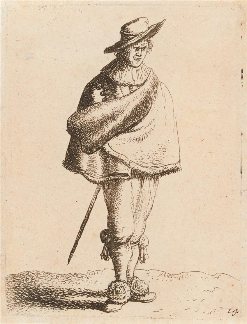J. van Vliet. Junger Mann mit Umhang bekleidet. 1635. Radierung. H 70 II.