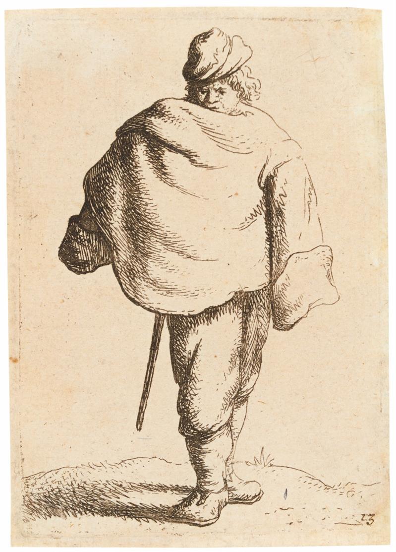 J. van Vliet. Mann mit Umhang. 1635. Radierung. Hollstein 68 III.