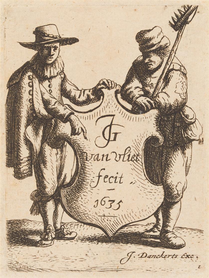 J. van Vliet. Junger Mann und Bauer halten ein Wappenschild. 1635. Radierung. Hollstein 59 IV.