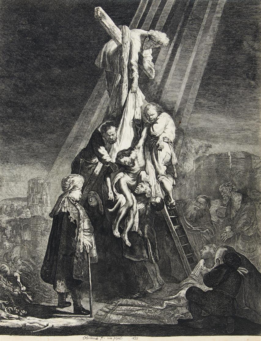Johann Jacob Hertel nach Rembrandt. Die große Kreuzabnahme. Kopie. NH 119 copy c I.