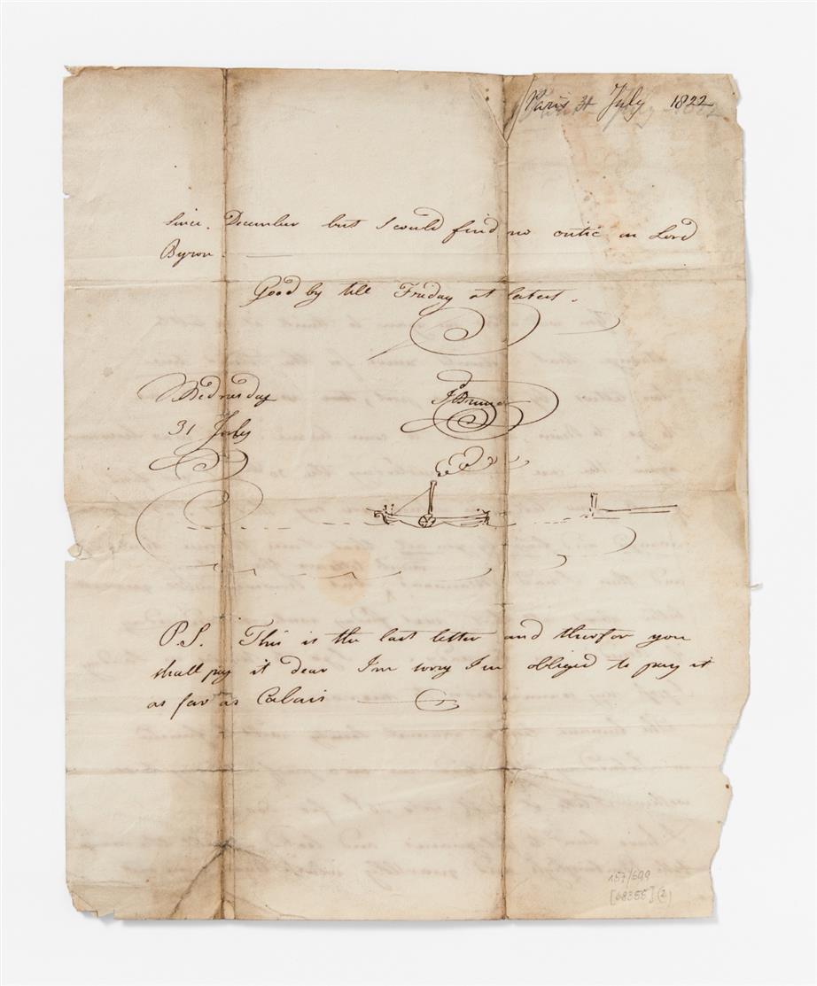 I. K. Brunel. E. Brief m. U.; Paris, (31.)VII.1822. 2 Seiten auf Quartbogen.