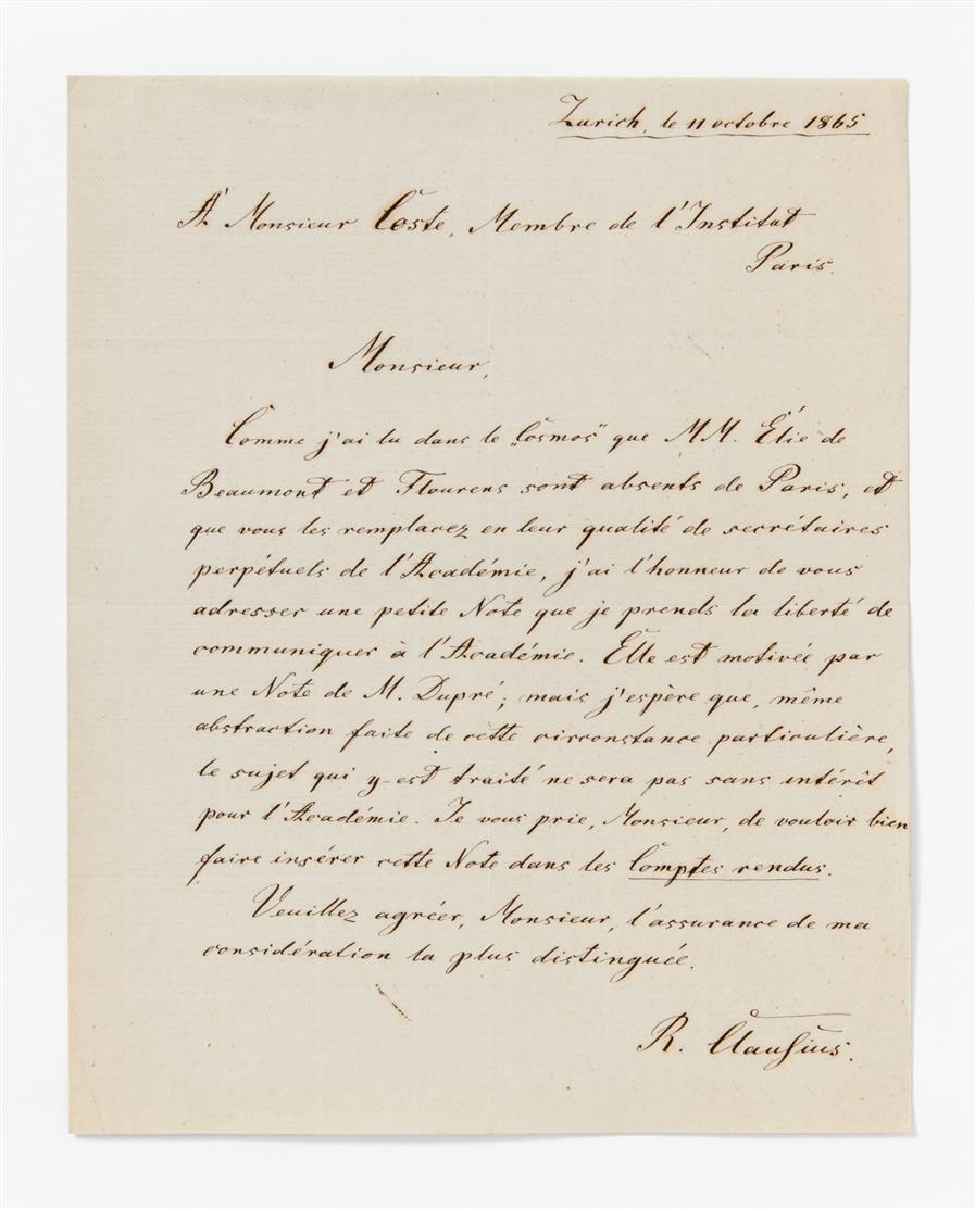 R. Clausius. E. Brief m. U.; Zürich, 11.X.1865. 1 Seite in Quart.