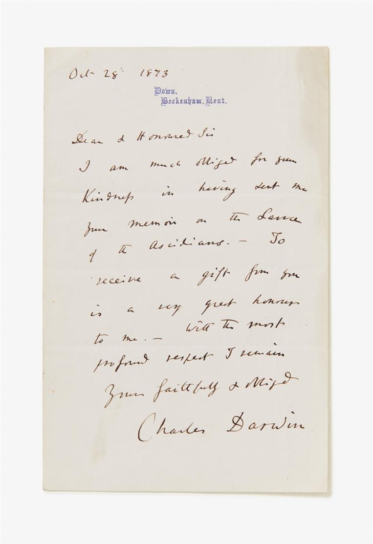 C. Darwin. E. Brief m. U.; Down, Beckenham, 28.X.1873. 1 Seite in Oktav auf gefalt. Bogen.