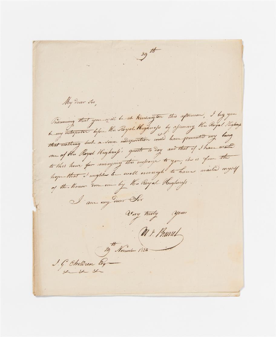 M. I. Brunel. E. Brief m. U.; o. O., 29.XI.1834. 1 Seite in Quart auf gefalt. Bogen.