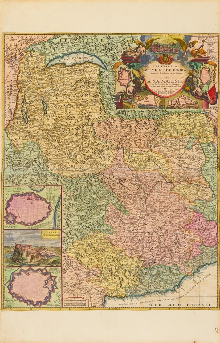 Savoyen und Piemont. Kolorierte Kupferstichkarte bei J. B. Nolin um 1691.