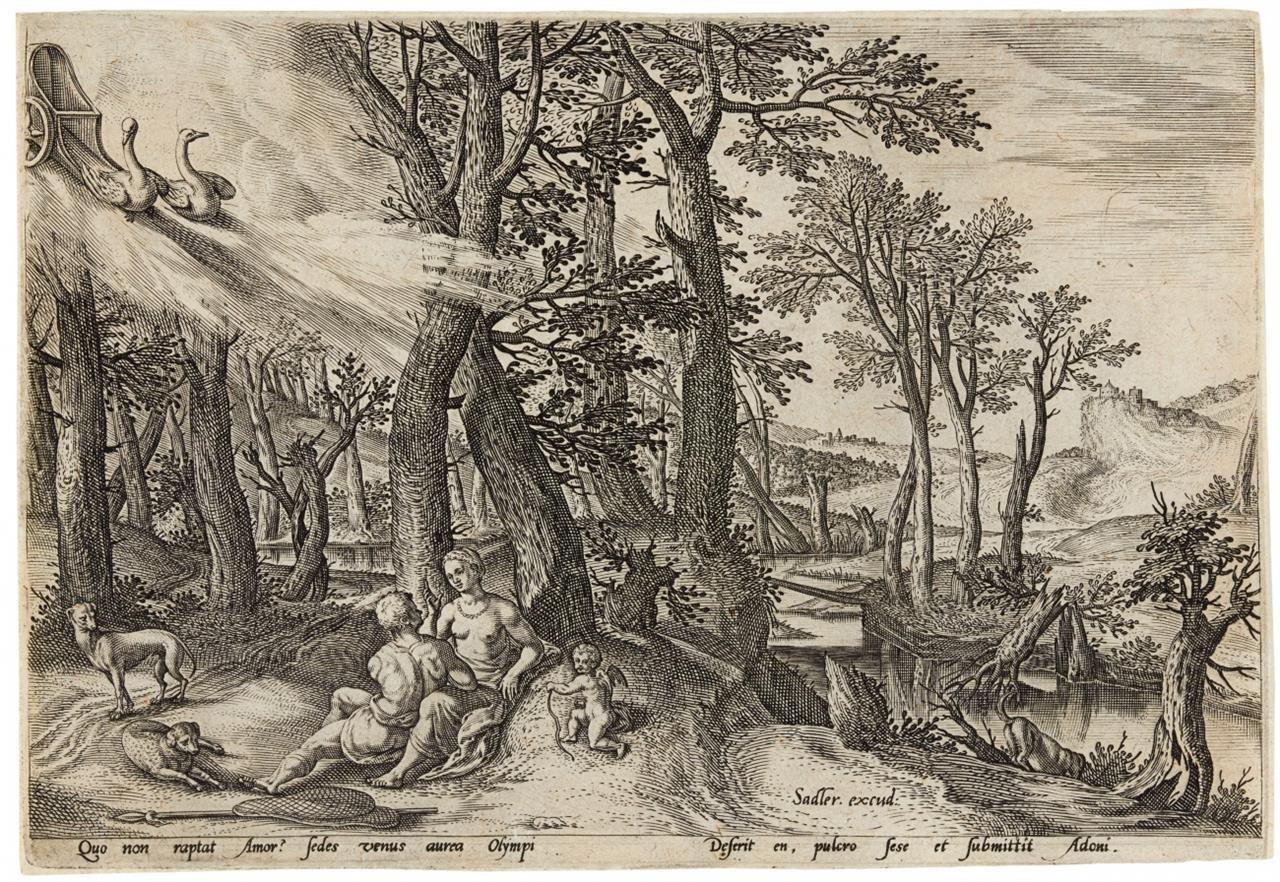 Johannes Sadeler I. Venus und Adonis. Kupferstich. Hollstein 483.