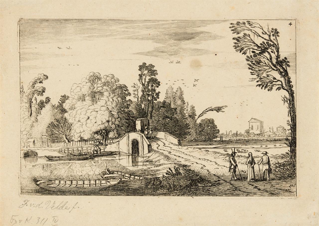 J. van de Velde II. Straße zu einer Steinbrücke führend. 1616. Radierung. Hollstein 272 III (von III).