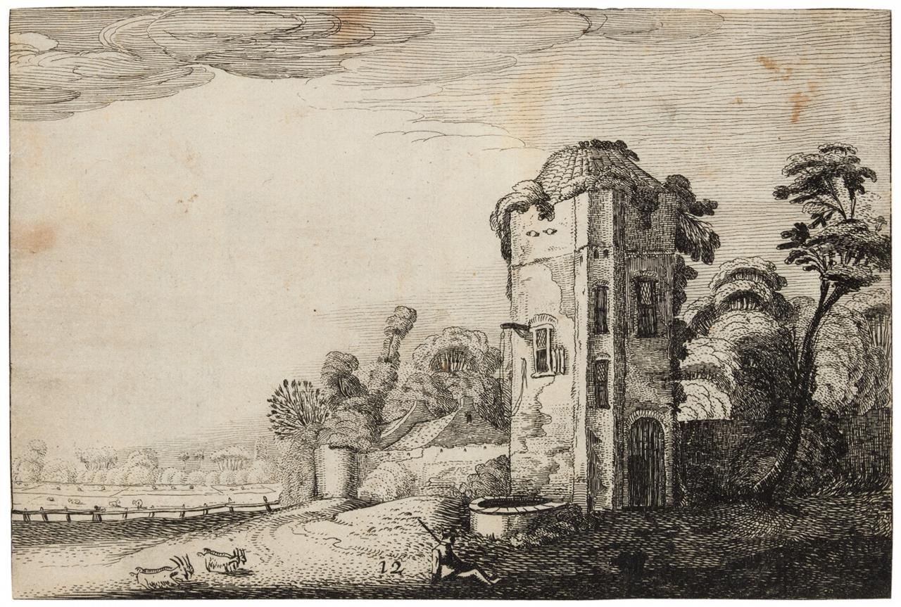 J. van de Velde II. Turm mit Brunnen.1616. Radierung. Hollstein 243 II (von III).
