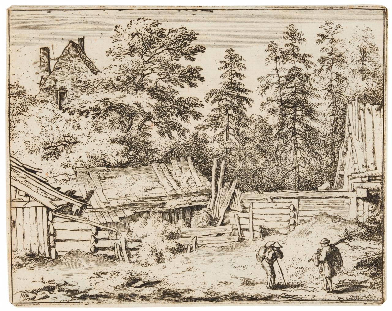Allart van Everdingen. Die drei Bauernhäuser. Radierung. Hollstein 92 II (von II).