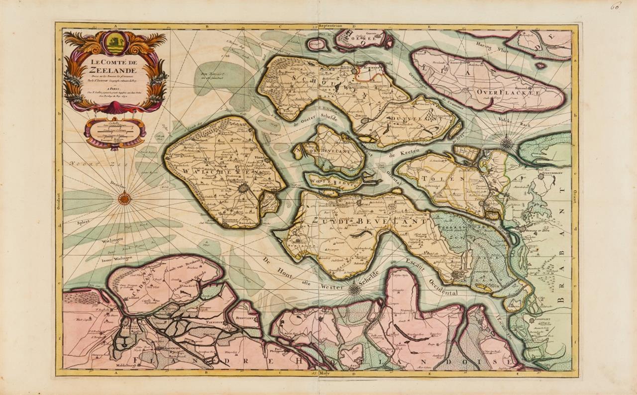 Zeeland. Kolorierte Kupferstichkarte bei H. Jaillot 1692. - Dazu: Großbritannien. Kolorierte Kupferstichkarte bei Tavernier 1641.