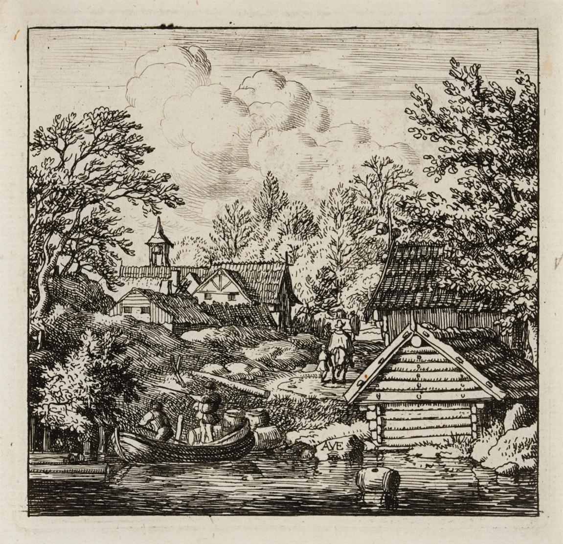 Allart van Everdingen. Weiler am Hang / Weiler auf bergigem Felde / Entladung des Kahns. 3 Blatt Radierungen. Hollstein 17, 19, bzw. 20, jeweils IV (von IV).