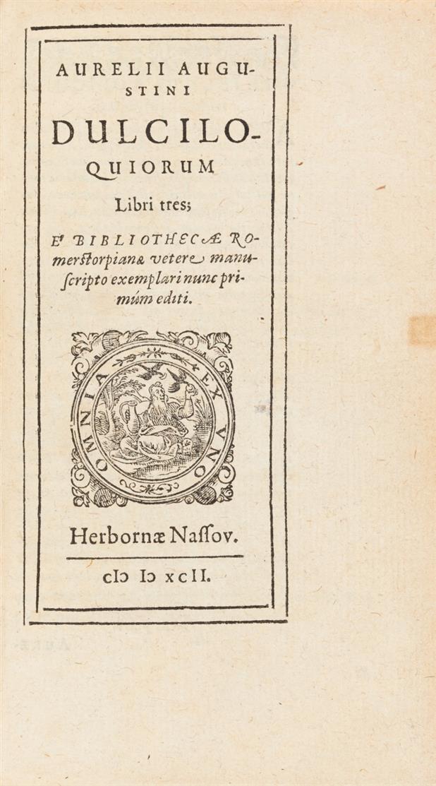 H. Pyrckmair (u.a.),  De arte peregrinandi ... Nürnberg 1591 - Angebunden: A. Augustinus, Dulciloquiorum libri tres. Herborn 1592.