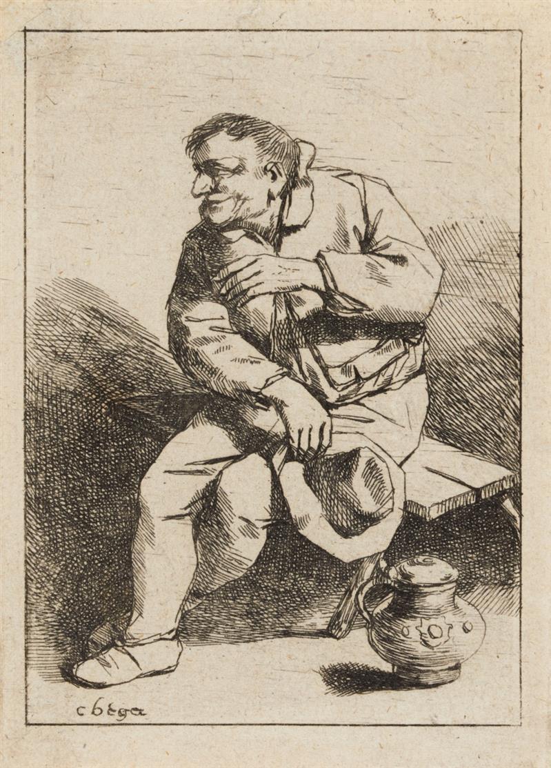Cornelis Bega. Sitzender Mann mit seinem Hut in der rechten Hand. Radierung. H. 17 II.