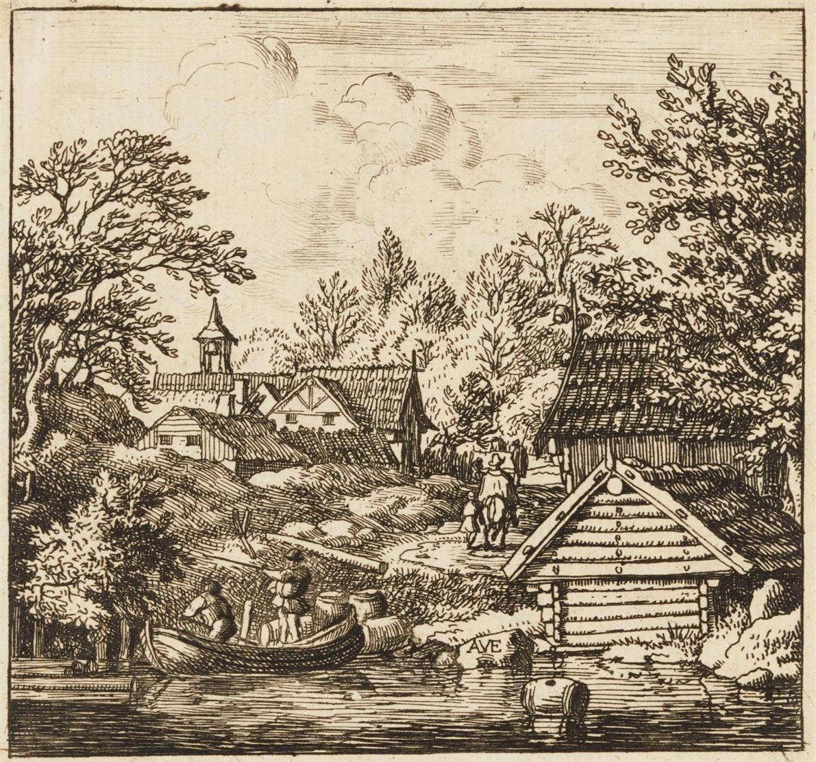 Allart van Everdingen. Das Entladen eines Kahns. Radierung. Hollstein 20 III.