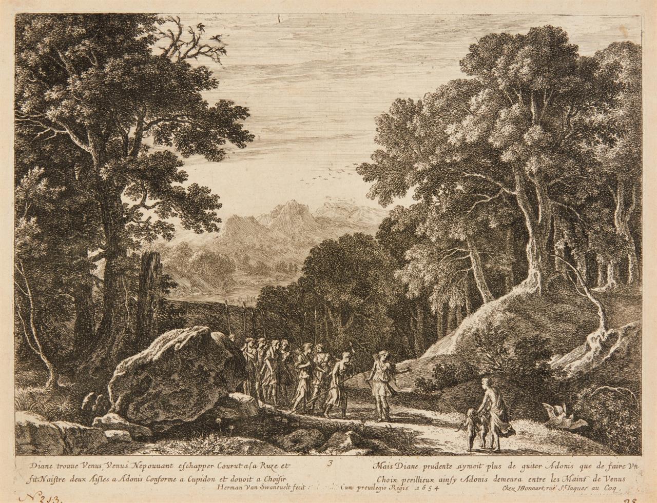 Herman Swanevelt. 5 Blatt Landschaften mit Staffage. Kupferstiche. H. 20, 89, 90, 93, 103.