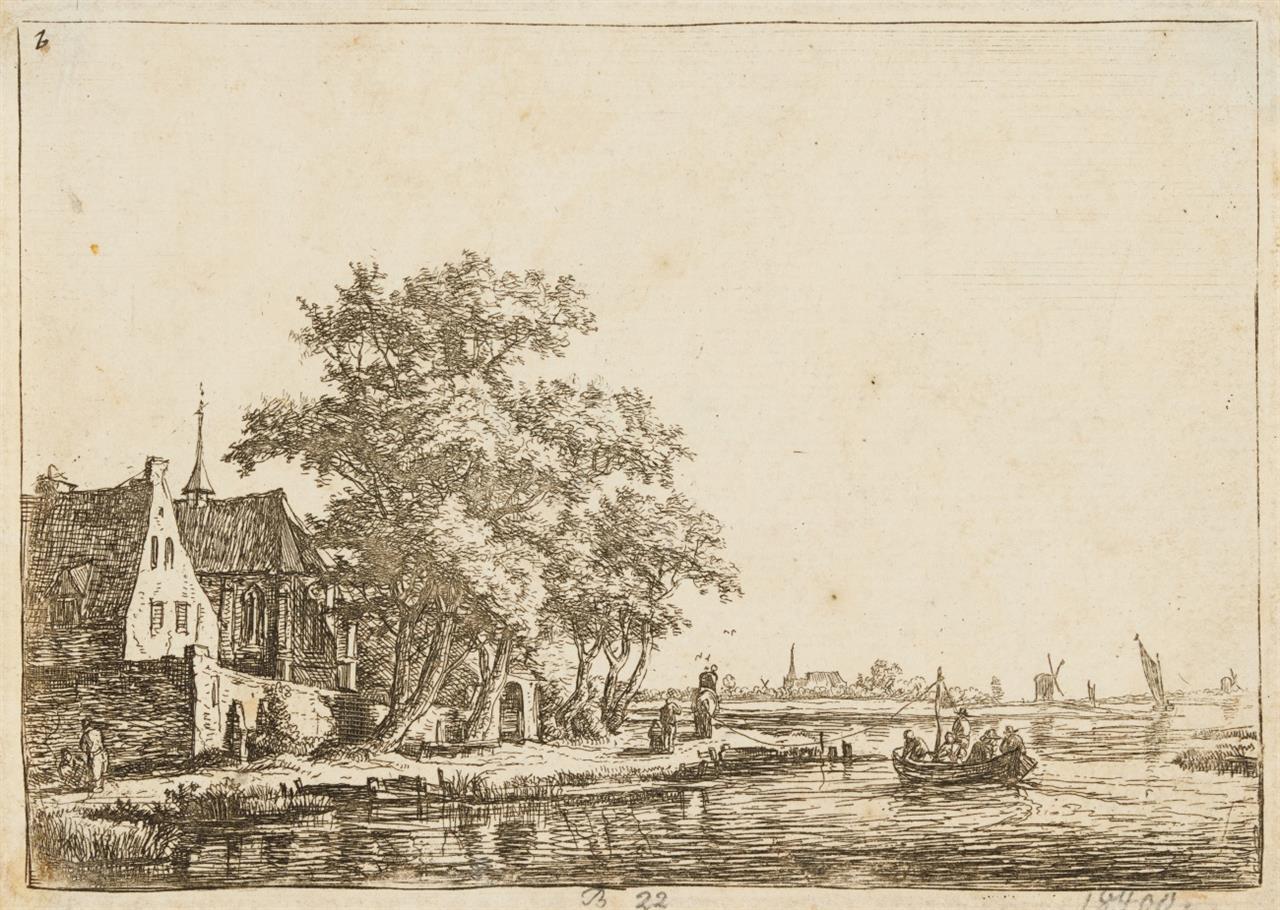 Antonie Waterloo. 5 Blatt Landschaften mit Staffage. Radierungen. H. 22, 30, 31, 78, 80.